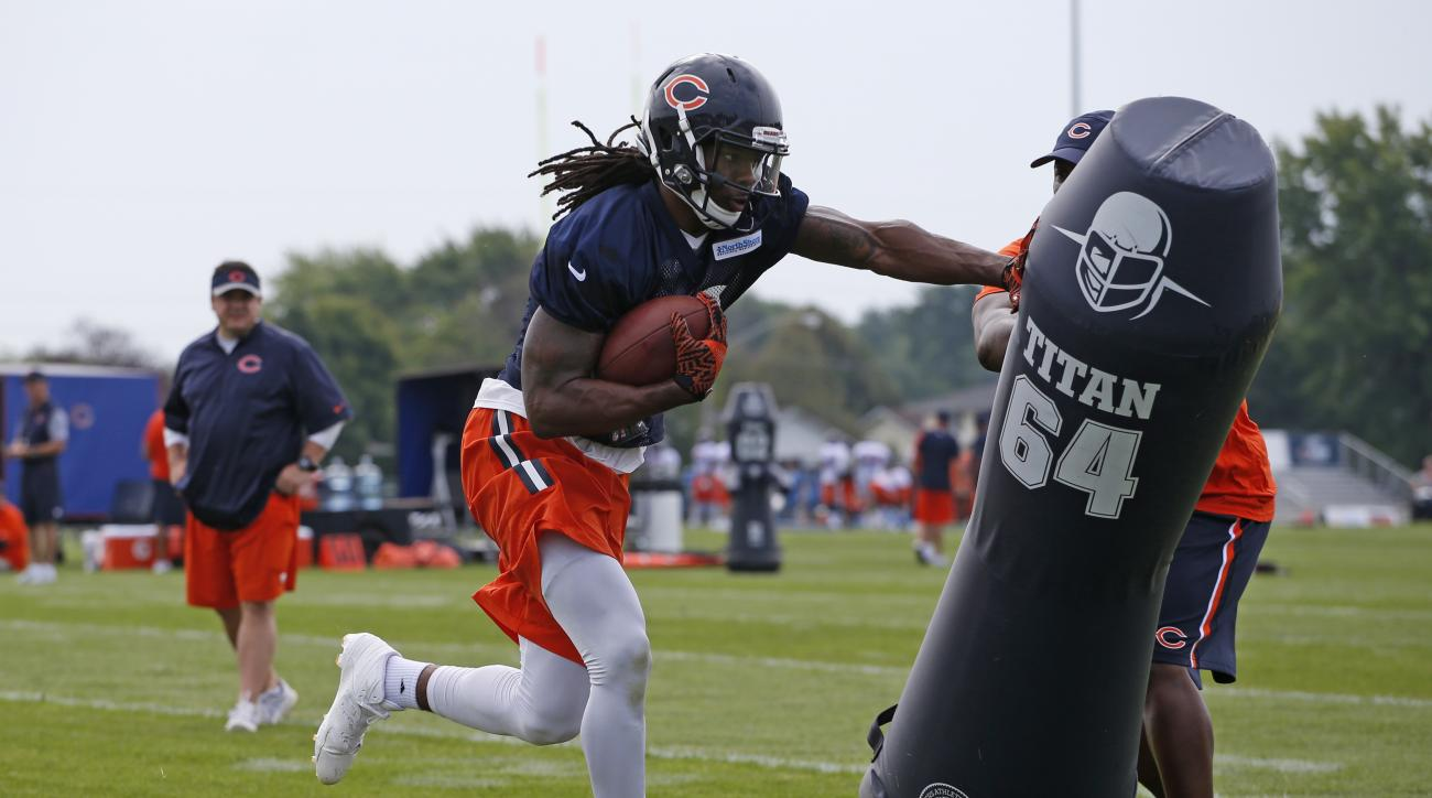 Chicago Bears wide receiver Kevin White runs a drill during practice at the NFL football teams training camp at Olivet Nazarene University, in Bourbonnais, Ill., Thursday, July 28, 2016. (AP Photo/Nam Y. Huh)