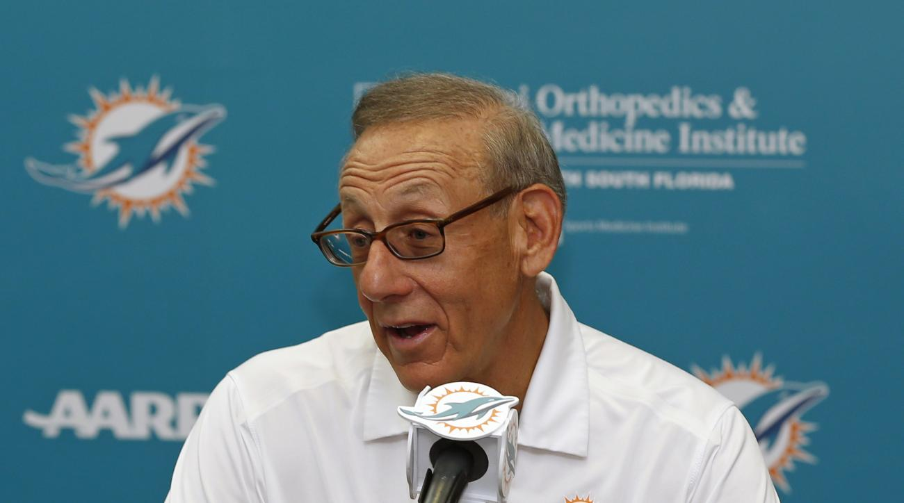 Miami Dolphins owner Stephen M. Ross speaks to the media prior to the start of the NFL football teams training camp in Davie, Fla., Friday, July 29, 2016. (AP Photo/Joel Auerbach)