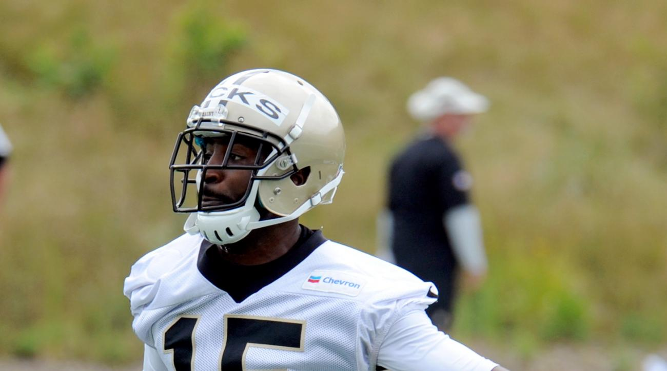 New Orleans at Saints Hakeem Nicks (15) runs drills during the NFL football team's training camp in White Sulphur Springs, W.Va., Friday, July 29, 2016. (AP Photo/Chris Tilley)