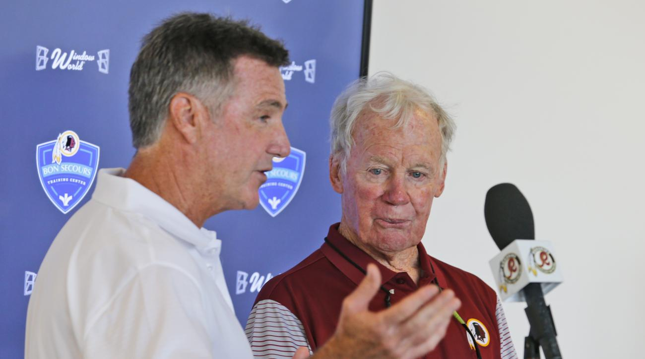 Washington Redskin general manager, Bruce Allen, left, announced that former Redskins GM Bobby Beathard, right, will be inducted in the Redskins Ring of Fame during a press conference at the Washington Redskins NFL football teams training camp in Richmond