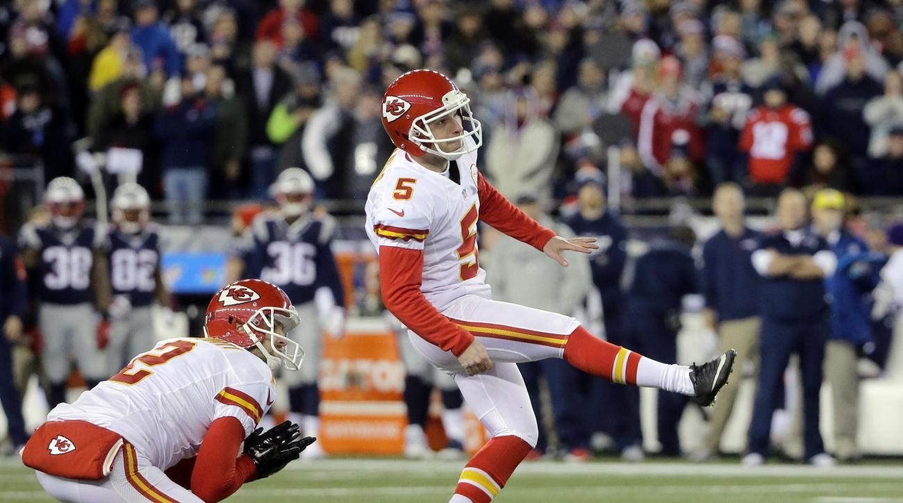 FILE - In this Jan. 16, 2016, file photo, Kansas City Chiefs kicker Cairo Santos (5), of Brazil, kicks a field goal against the New England Patriots in the first half of an NFL divisional playoff football game, in Foxborough, Mass. You see, the only Brazi