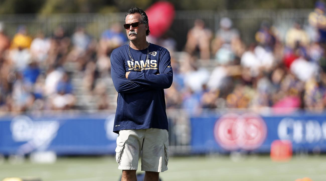 Los Angeles Ramscoach Jeff Fisher watches players practice during the NFL football team's training camp, Saturday, July 30, 2016, in Irvine, Calif. (AP Photo/Ryan Kang)