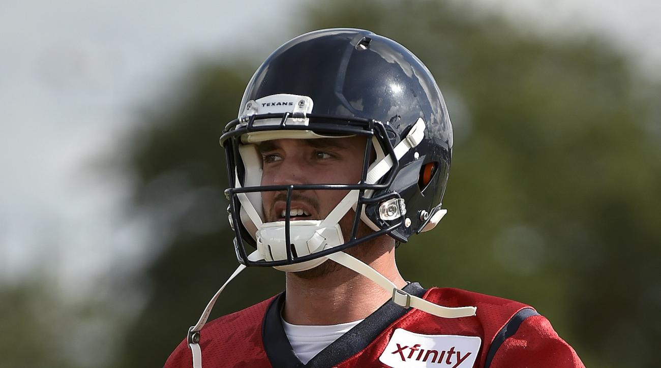 Houston Texans quarterback Brock Osweiler (17) warms up during a practice at the NFL football team's training camp, Sunday, July 31, 2016, in Houston. (AP Photo/Eric Christian Smith)