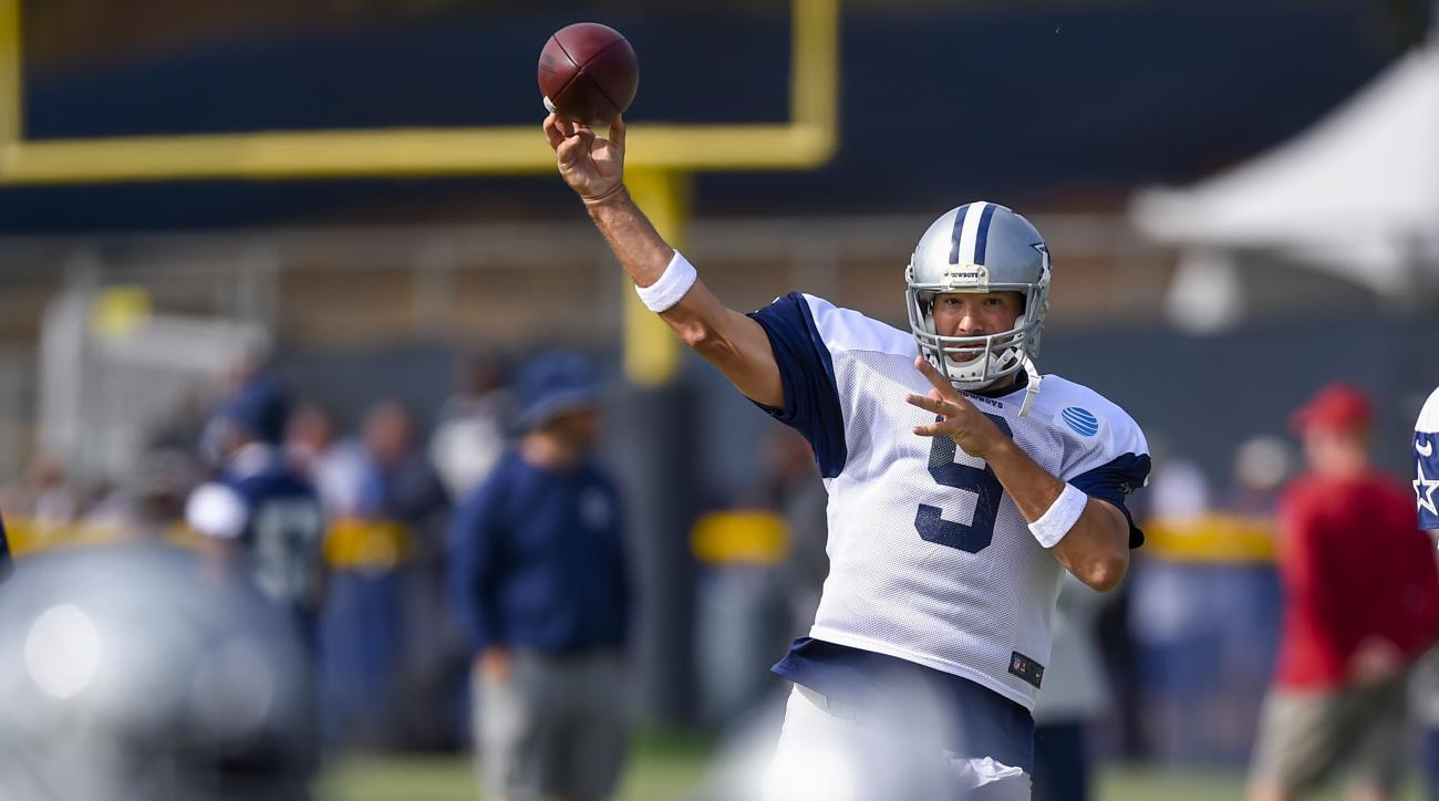 Dallas Cowboys quarterback Tony Romo makes a pass during Dallas Cowboys' NFL football training camp, Monday, Aug. 1, 2016, in Oxnard, Calif. (AP Photo/Gus Ruelas)