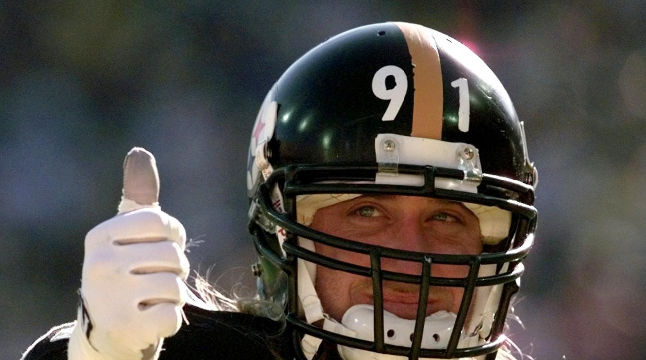 FILE - In this Jan. 28, 1996, file photo, Pittsburgh Steelers linebacker Kevin Greene gives a thumbs up in Sun Devil Stadium before taking on the Dallas Cowboys in Super Bowl XXX in Tempe, Ariz. Kevin to me represents all the things you want in a Hall of