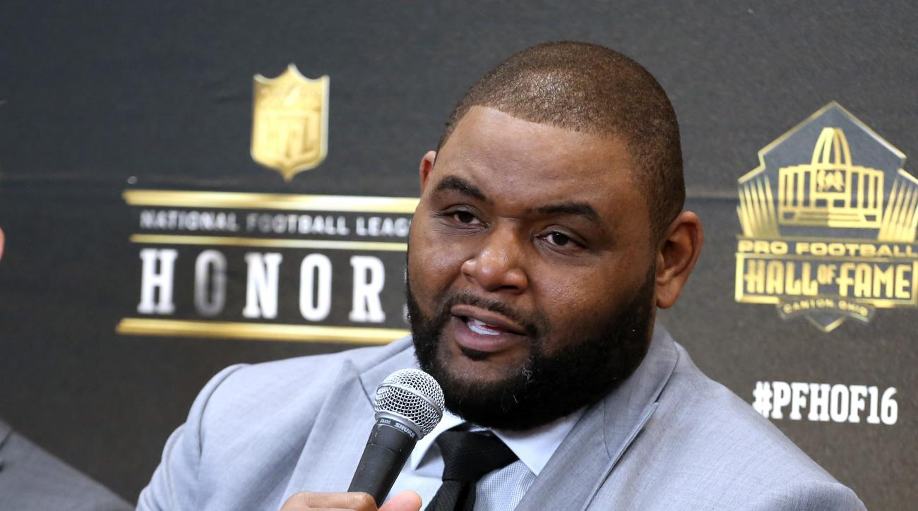 FILE - In this Feb. 6, 2016, file photo, former NFL player Orlando Pace, who will be inducted into the Pro Football Hall of Fame class of 2016, speaks in the Hall of Fame press room at the the fifth annual NFL Honors at the Bill Graham Civic Auditorium, i