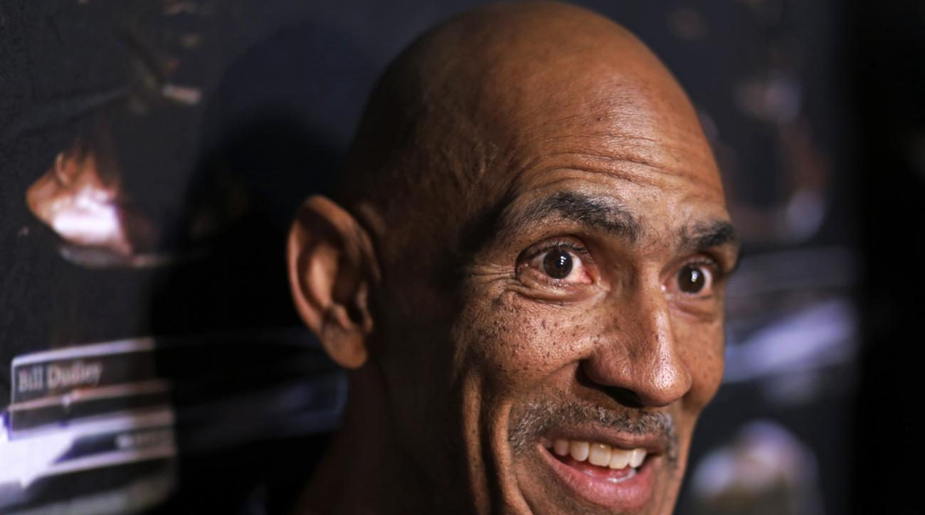 Pro Football Hall of Fame 2016 inductee Tony Dungy talks with reporters Friday, Aug. 5, 2016, in Canton, Ohio. (AP Photo/Gene J. Puskar)