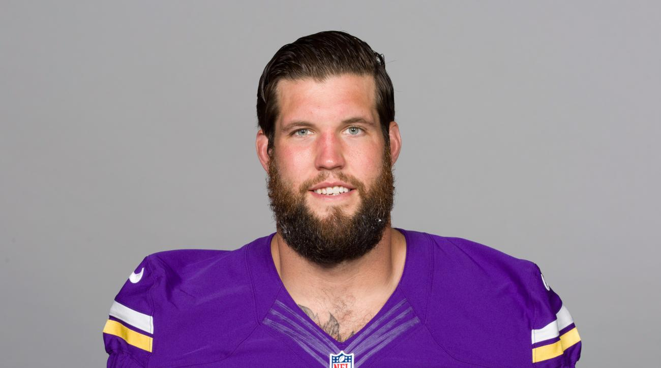 This is a 2016 photo of Alex Boone of the Minnesota Vikings NFL football team. In a matter of months, Boone has swiftly established himself as the alpha male of Minnesotas offensive line. The edge he brings to playing left guard is part of why the Vikings