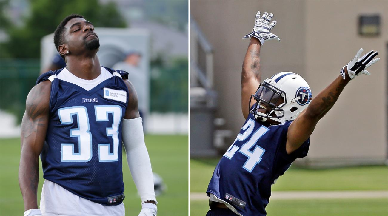 FILE - At left, in a June 14, 2016, file photo, Tennessee Titans cornerback Brice McCain (33) stretches during an NFL football practice in Nashville, Tenn. At right, in a May 24, 2016, file photo, cornerback Perrish Cox reacts to missing an interception a