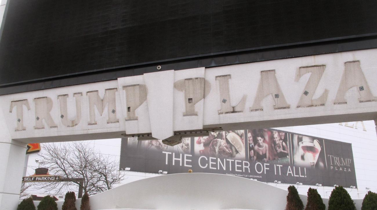"""FILE - This Jan. 14, 2015, file photo, shows the outline of letters that once spelled out """"Trump Plaza"""" on the facade of the former casino in Atlantic City N.J. The federal ban on sports betting in all but four states was upheld Tuesday, Aug. 25, 2015, de"""