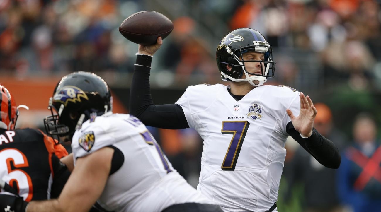 FILE - In this Jan. 3, 2016, file photo, Baltimore Ravens quarterback Ryan Mallett throws in the first half of an NFL football game against the Cincinnati Bengals, in Cincinnati. Mallett is back to No. 2 on the Ravens' depth chart at quarterback, a job th