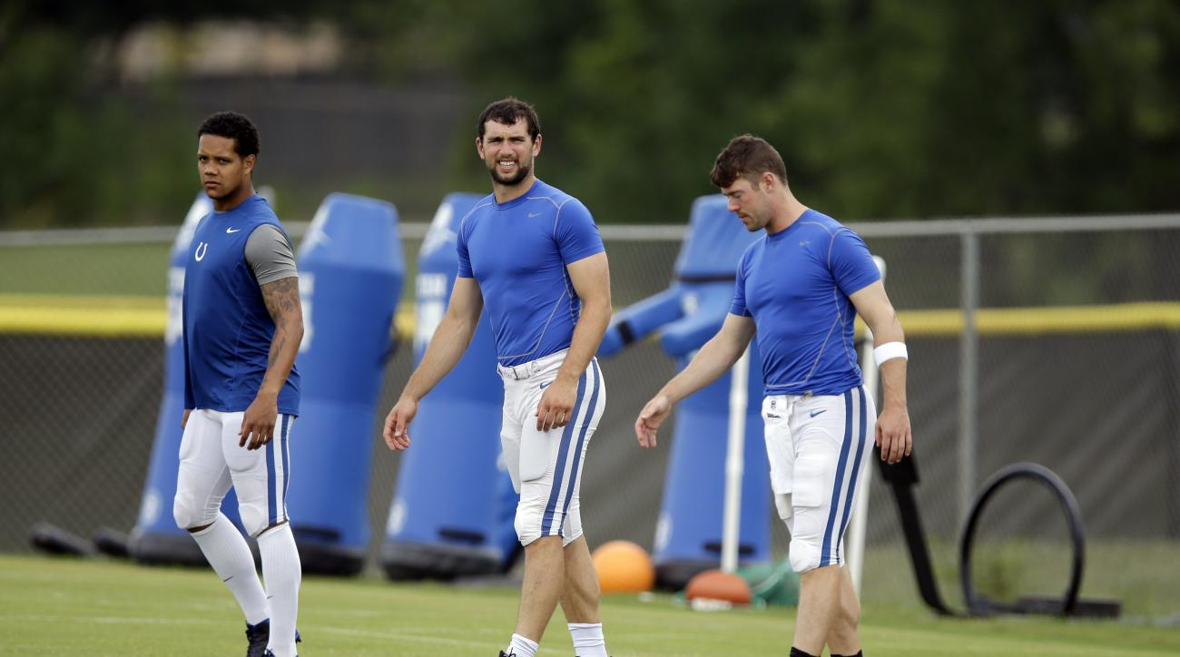 Indianapolis Colts quarterbacks, left, to right, Stephen Morris, Andrew Luck, and Scott Tolzien stretch before the NFL team's football training camp in Anderson, Ind., Wednesday, Aug. 10, 2016. (AP Photo/Michael Conroy)