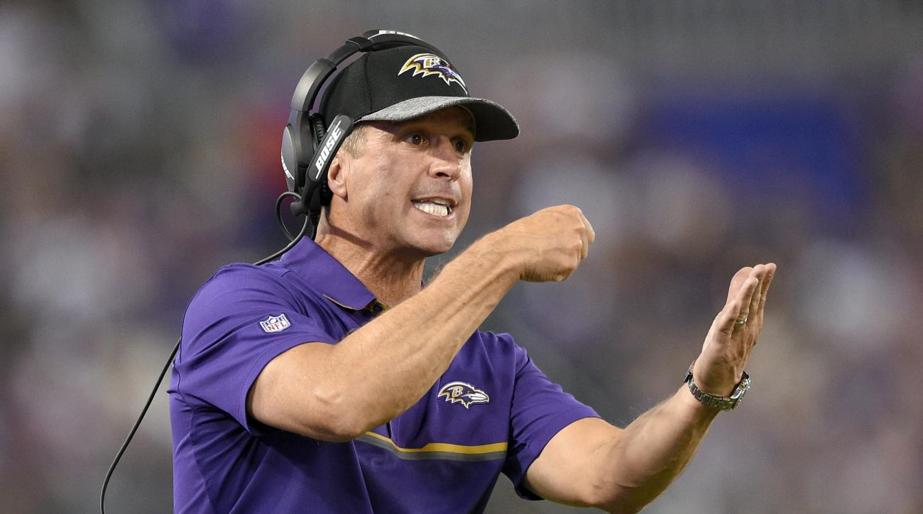 Baltimore Ravens coach John Harbaugh reacts during the first half of the team's NFL preseason football game against the Carolina Panthers on Thursday, Aug. 11, 2016, in Baltimore. (AP Photo/Nick Wass)