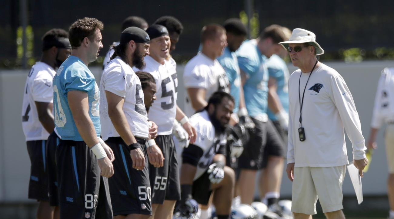 FILE - Carolina Panthers special teams coach Bruce DeHaven, right, talks with players during NFL football minicamp in Charlotte, N.C. DeHaven has decided to step down from his position and move into an advisory role with the team while continuing his batt