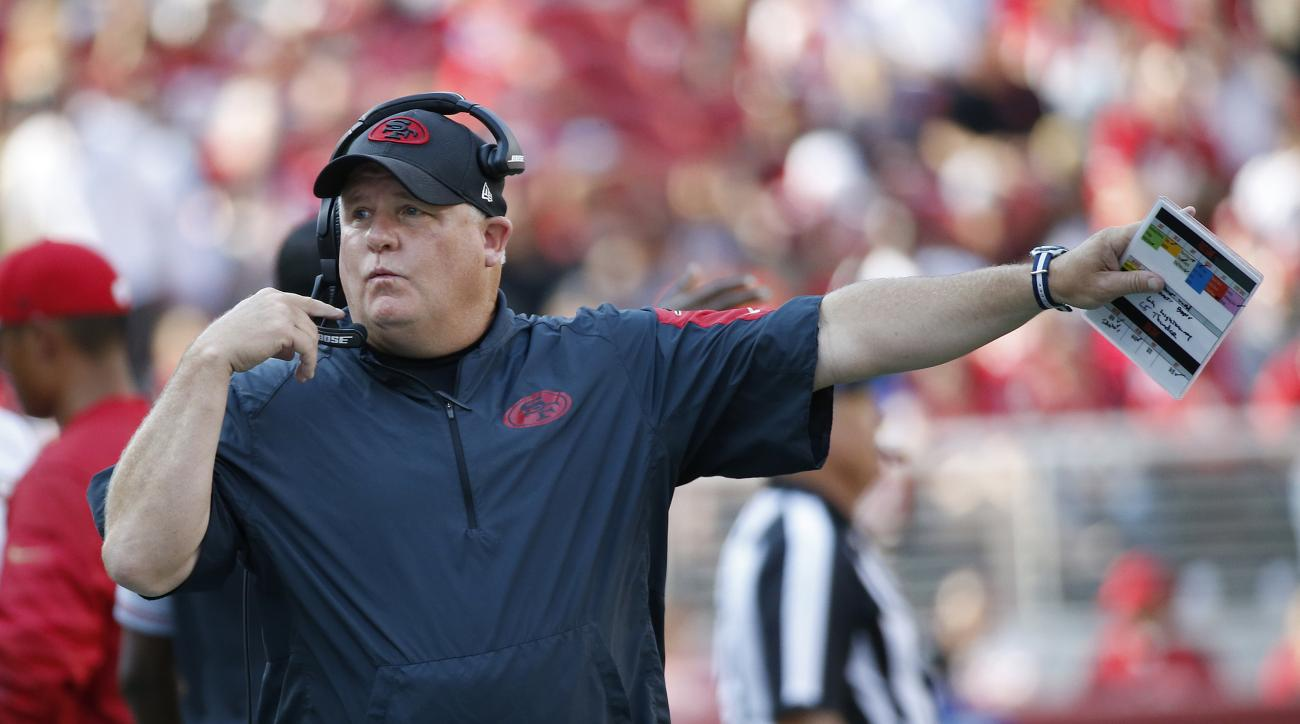 San Francisco 49ers coach Chip Kelly gestures on the sidelines during the first half of the team's NFL preseason football game against the Houston Texans on Sunday, Aug. 14, 2016, in Santa Clara, Calif. (AP Photo/Tony Avelar)