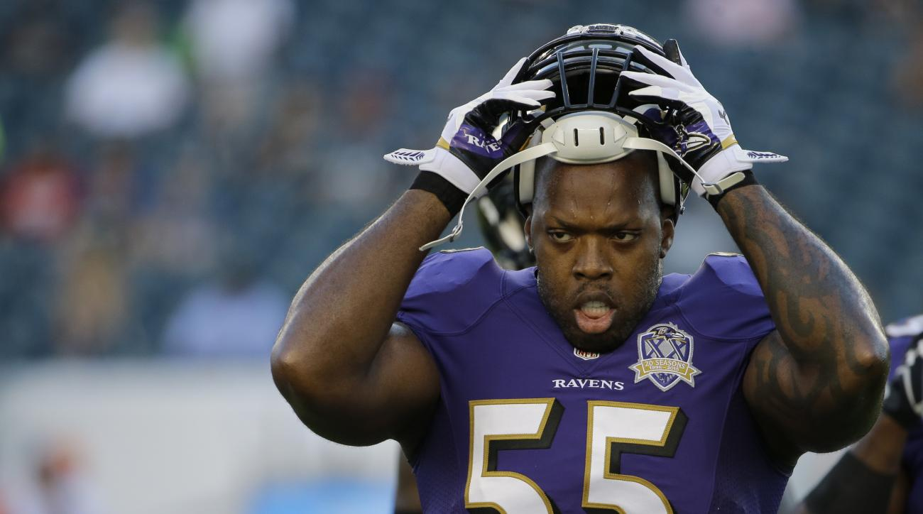 FILE - In this Aug. 22, 2015, file photo, Baltimore Ravens outside linebacker Terrell Suggs warms up before a preseason NFL football game against the Philadelphia Eagles, in Philadelphia. Suggs has returned to practice for the first time since tearing his