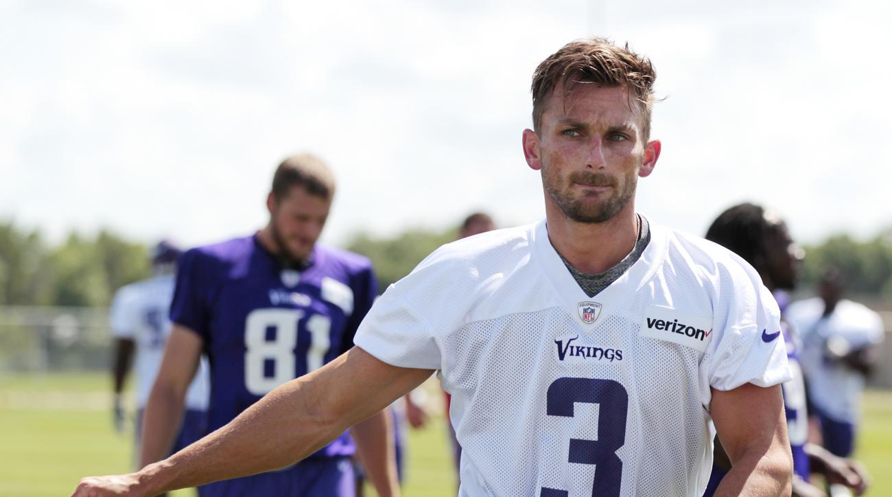 FILE - In this July 30, 2016, file photo, Minnesota Vikings kicker Blair Walsh (3) warms up during the second day of NFL football training camp at Mankato State University in Mankato, Minn. For Walsh and the Vikings, the reminders of the crushing loss to