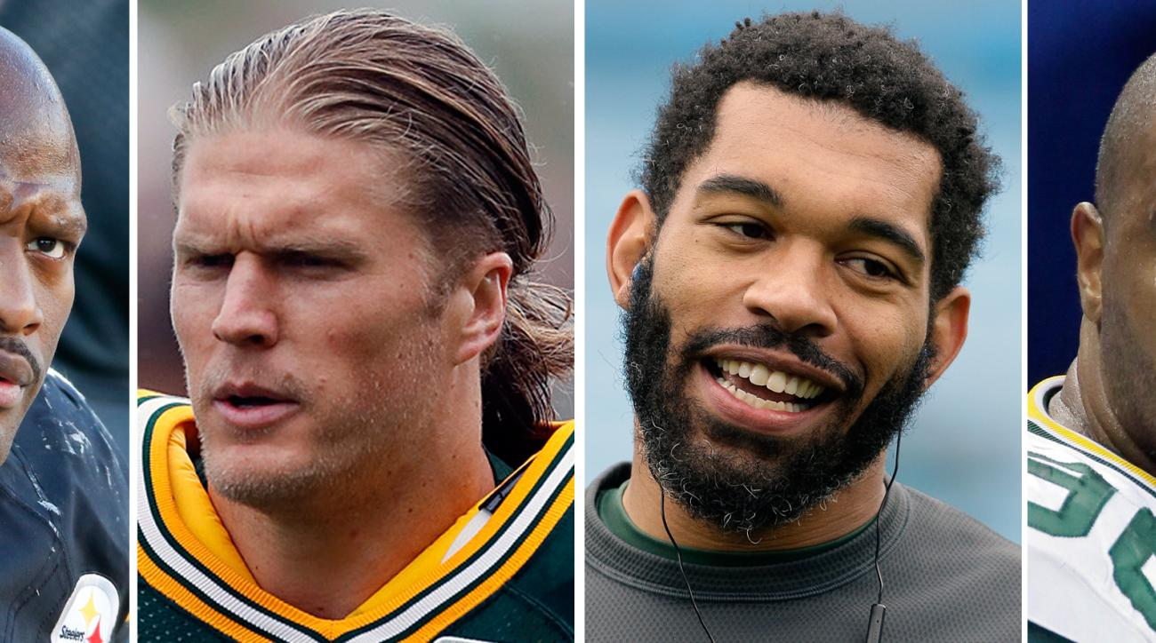 FILE - From left are file photos showing Pittsburgh Steelers' James Harrison, in 2015, Green Bay Packers' Clay Matthews, in 2016, Packers' Julius Peppers, in 2015, and then-Packers player Mike Neal, in 2014. Steelers linebacker James Harrison doesnt want