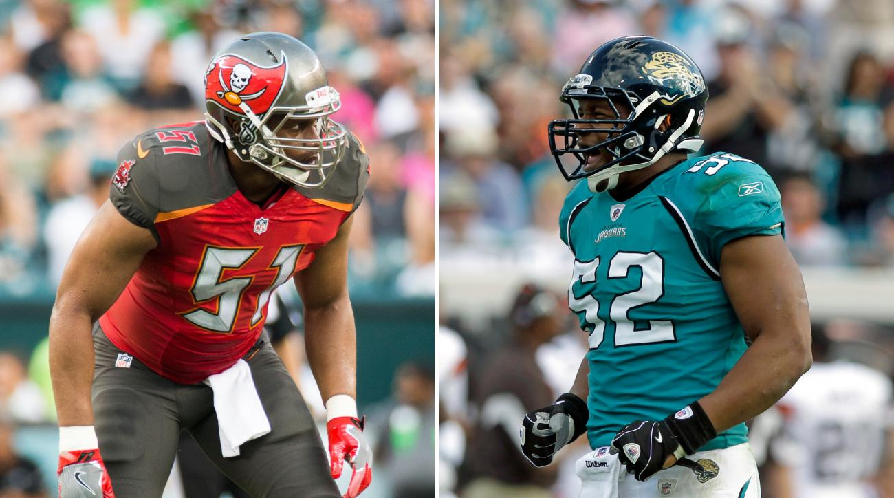 FILE - At left, in an Aug. 11, 2016, file photo, Daryl Smith plays for the Tampa Bay Buccaneers during the first half of a preseason NFL football game against the Philadelphia Eagles, in Philadelphia. At right, in a Nov. 21, 2010, file photo, Daryl Smith