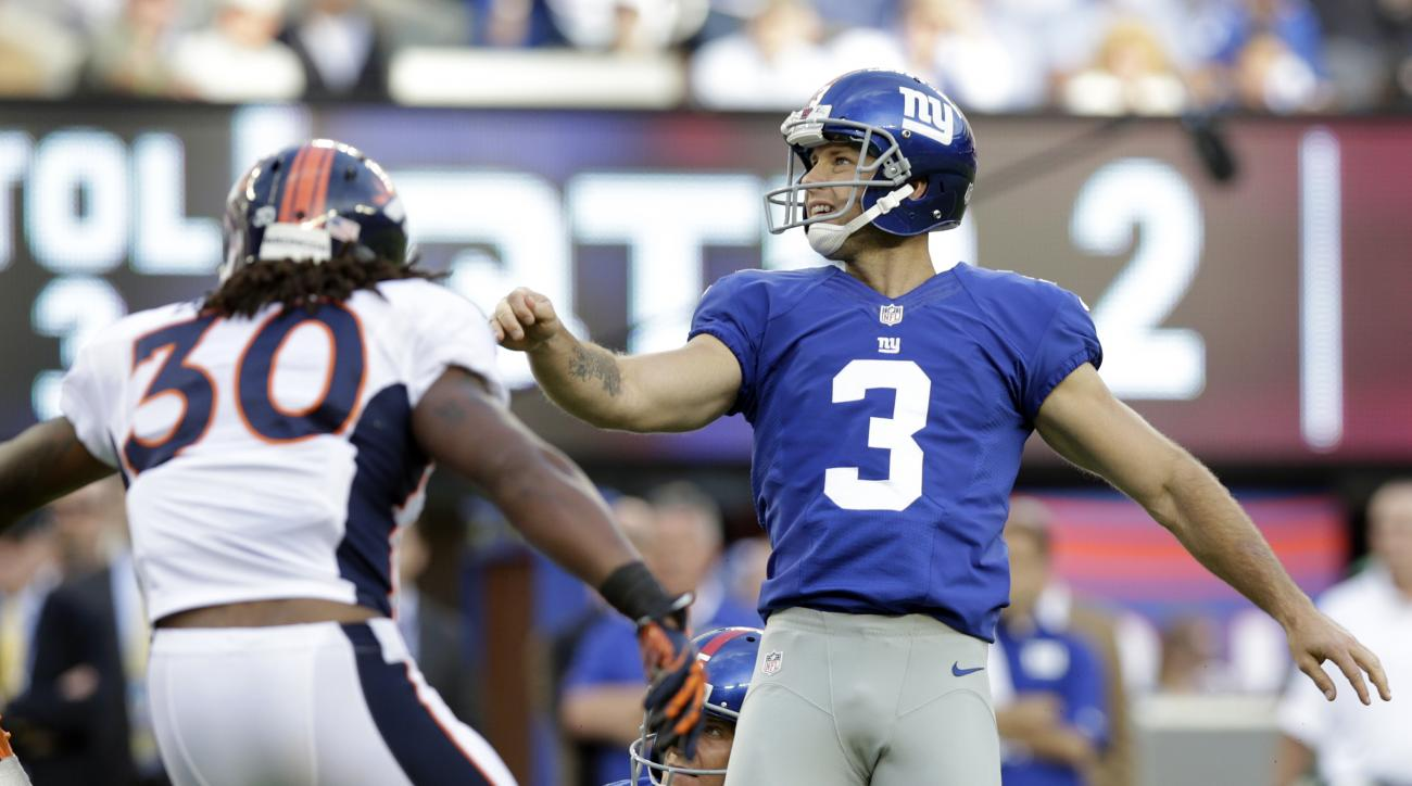 FILE - In this Sept. 15, 2013, file photo, New York Giants kicker Josh Brown (3) reacts after kicking a field goal during the first half of an NFL football game against the Denver Broncos in East Rutherford, N.J. The NFL on Wednesday, Aug. 17, 2016, has s