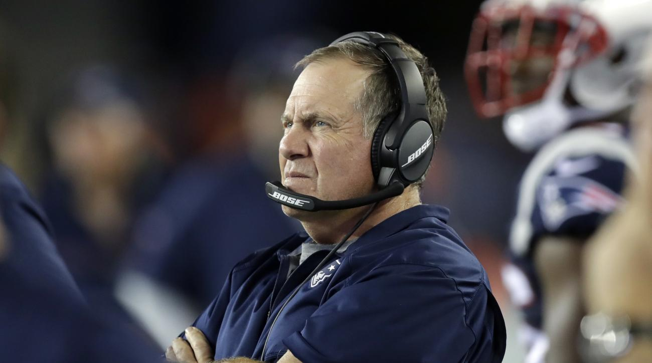 New England Patriots head coach Bill Belichick watches from the sideline during the second half of a preseason NFL football game against the Chicago Bears, Thursday, Aug. 18, 2016, in Foxborough, Mass. (AP Photo/Charles Krupa)