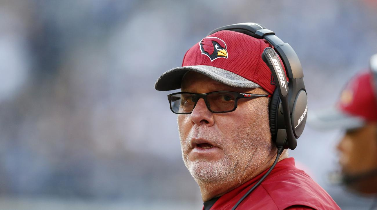 Arizona Cardinals coach Bruce Arians stands on the sideline during the first half of the team's preseason NFL football game against the San Diego Chargers, Friday, Aug. 19, 2016, in San Diego. (AP Photo/Rick Scuteri)