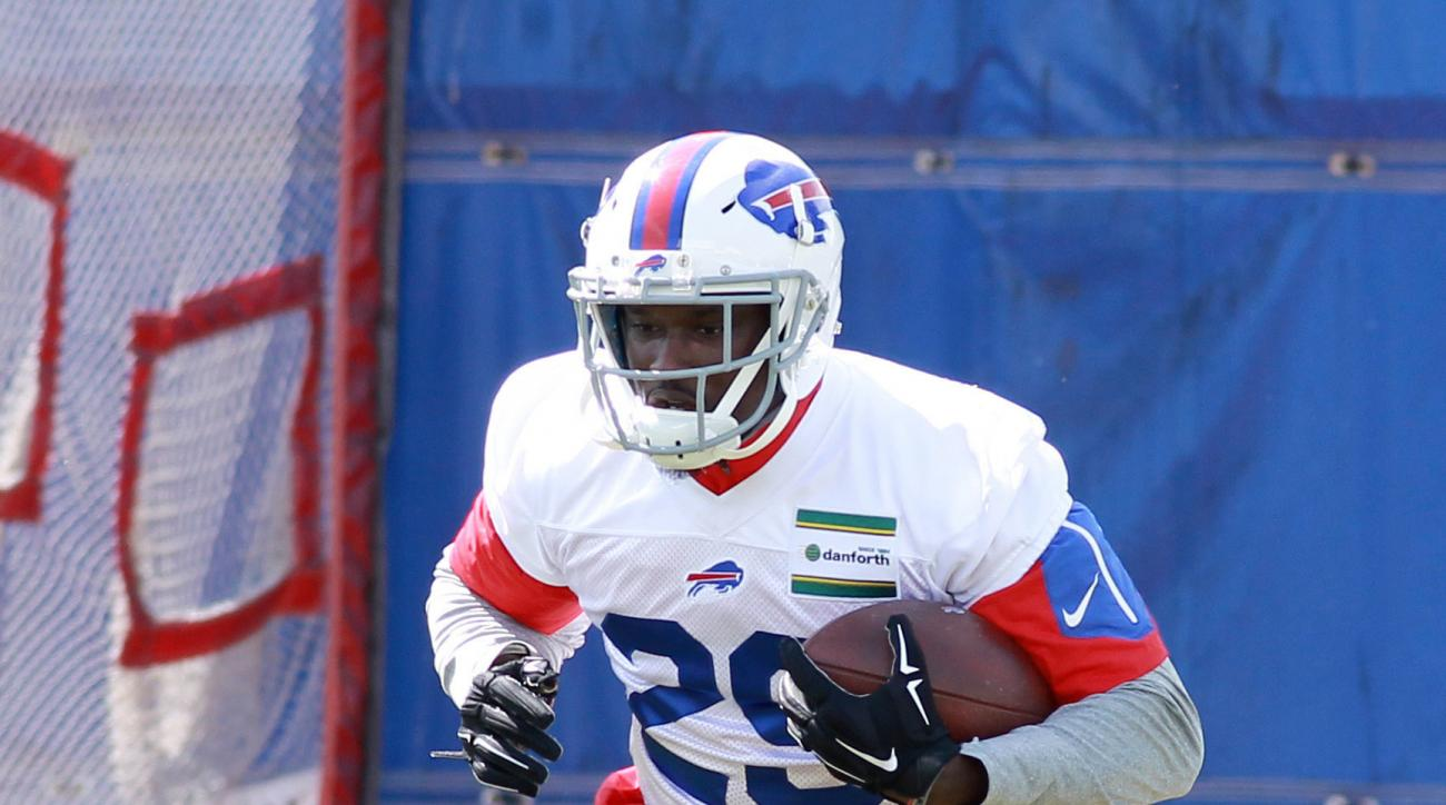 File-This June 15, 2016, file photo shows Buffalo Bills running back Karlos Williams (29) taking part in drills during the team's NFL football minicamp in Orchard Park, N.Y. Williams has run out of chances with the Buffalo Bills. Without providing any det