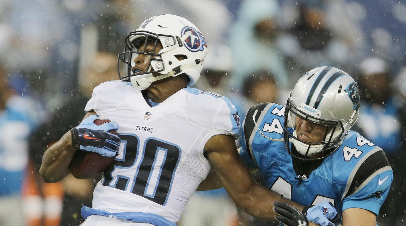 Carolina Panthers long snapper J.J. Jansen (44) tackles Tennessee Titans safety Kevin Byard (20) during the second half of an NFL preseason football game, Saturday, Aug. 20, 2016, in Nashville, Tenn. (AP Photo/James Kenney)