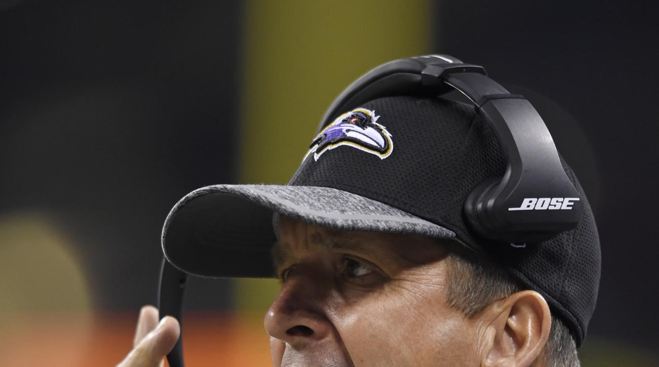 Baltimore Ravens coach John Harbaugh yells from the sideline during the second half of an NFL preseason football game against the Indianapolis Colts in Indianapolis, Saturday, Aug. 20, 2016. (AP Photo/Doug McSchooler)
