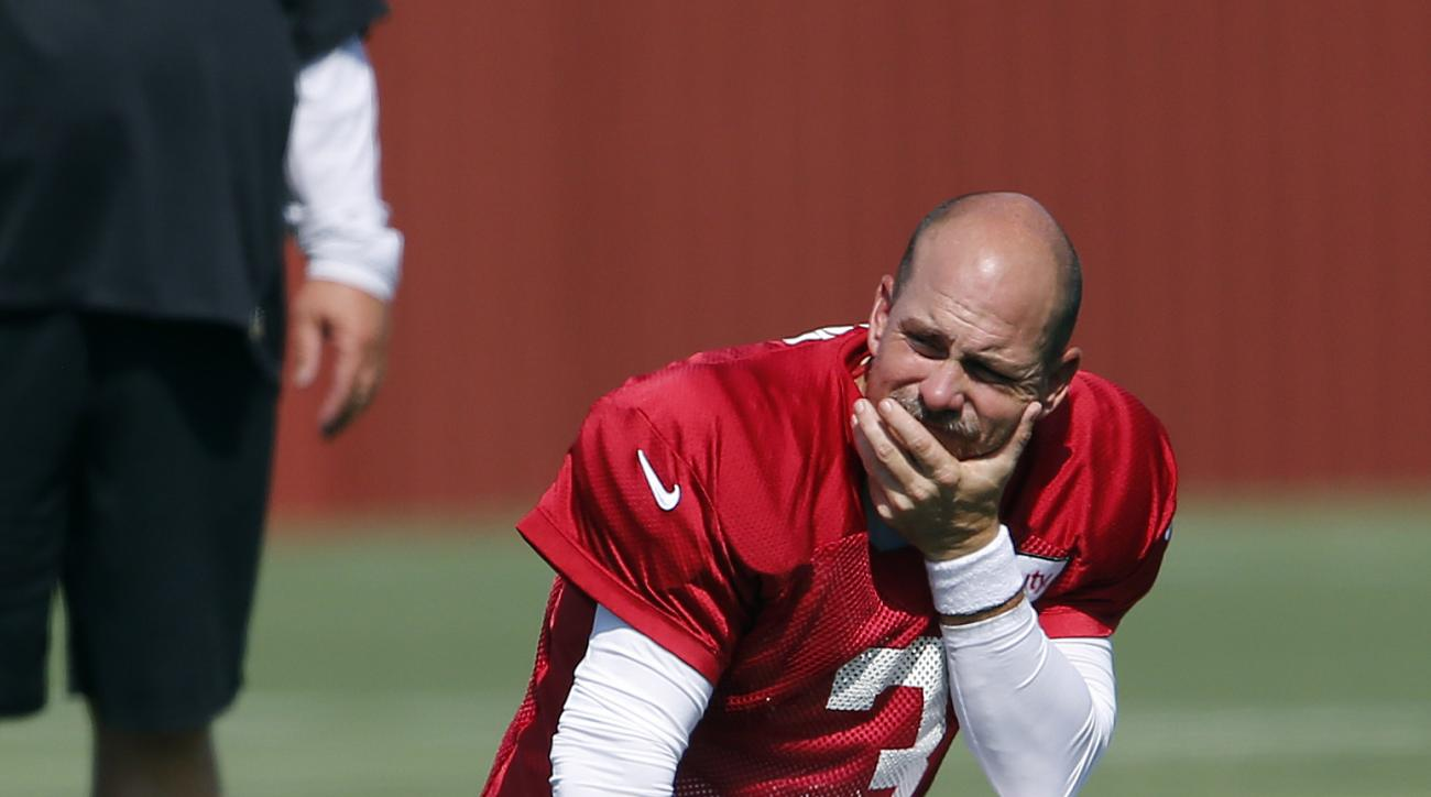 FILE - In this July 31, 2016, file photo, Atlanta Falcons kicker Matt Bryant (3) watches during an NFL football practice, in Flowery Branch, Ga. Veteran kicker Shayne Graham has returned for a second stint with the Falcons, a signing that could be an indi