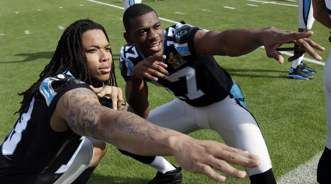 FILE - In this Feb. 6, 2016, file photo, Carolina Panthers wide receivers Kelvin Benjamin, left, and Devin Funchess (17) pose for a photo inside Levi's Stadium as they gathered for a team photo in preparation for the Super Bowl 50 football game, in Santa
