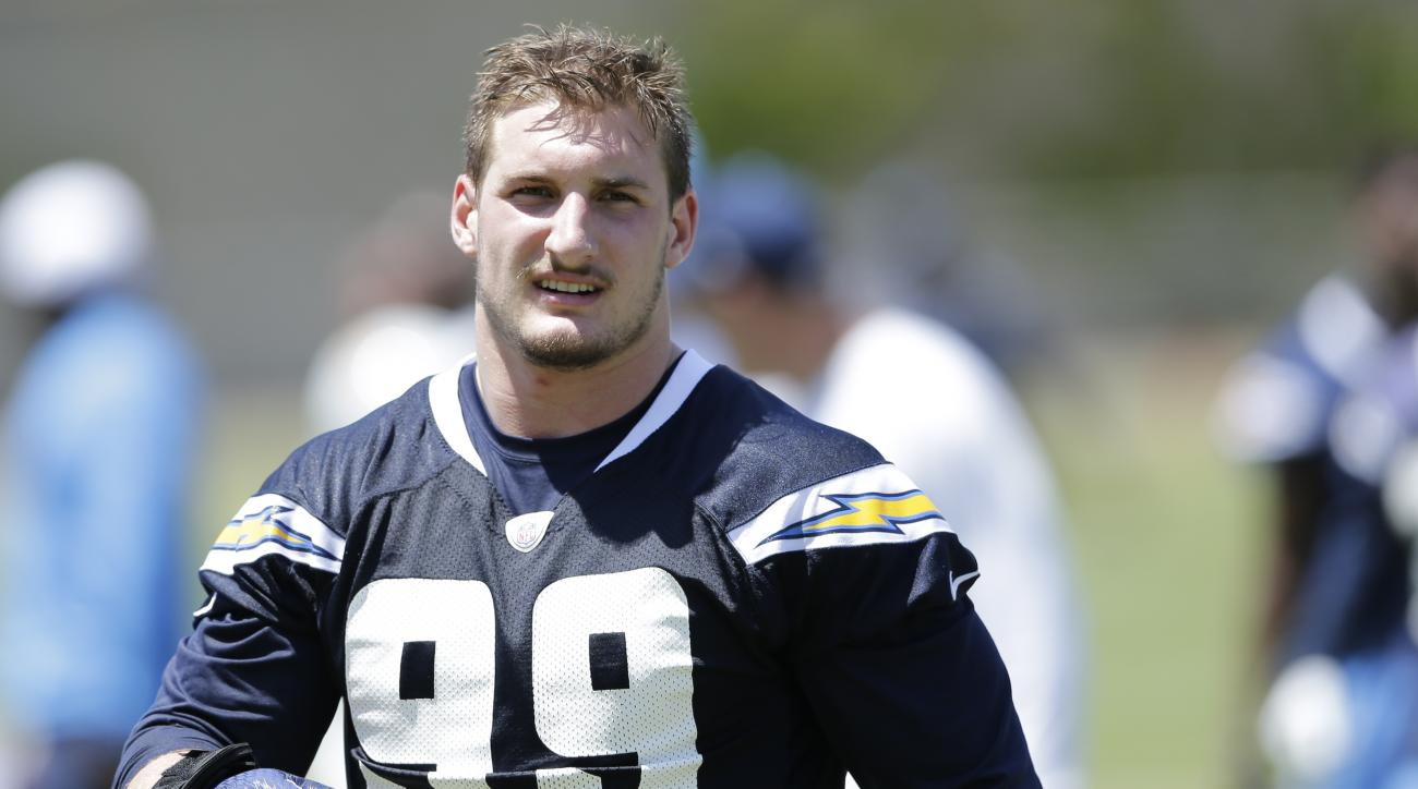 San Diego Chargers rookie defensive end Joey Bosa trains during an NFL football rookie training camp Friday, May 13, 2016, in San Diego. (AP Photo/Gregory Bull)
