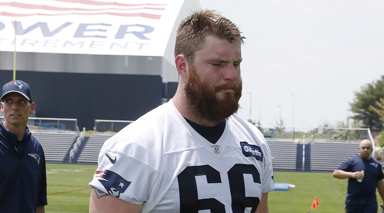 New England Patriots offensive linesmen Bryan Stork (66) walks off the field following an NFL football practice Thursday, May 26, 2016, in Foxborough, Mass. (AP Photo/Michael Dwyer)