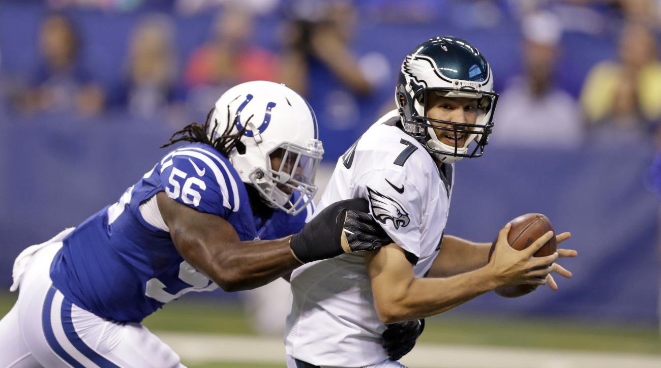 Indianapolis Colts inside linebacker Nate Irving (56) sacks Philadelphia Eagles quarterback Sam Bradford (7) during the first half of an NFL preseason football game in Indianapolis, Saturday, Aug. 27, 2016. (AP Photo/Darron Cummings)