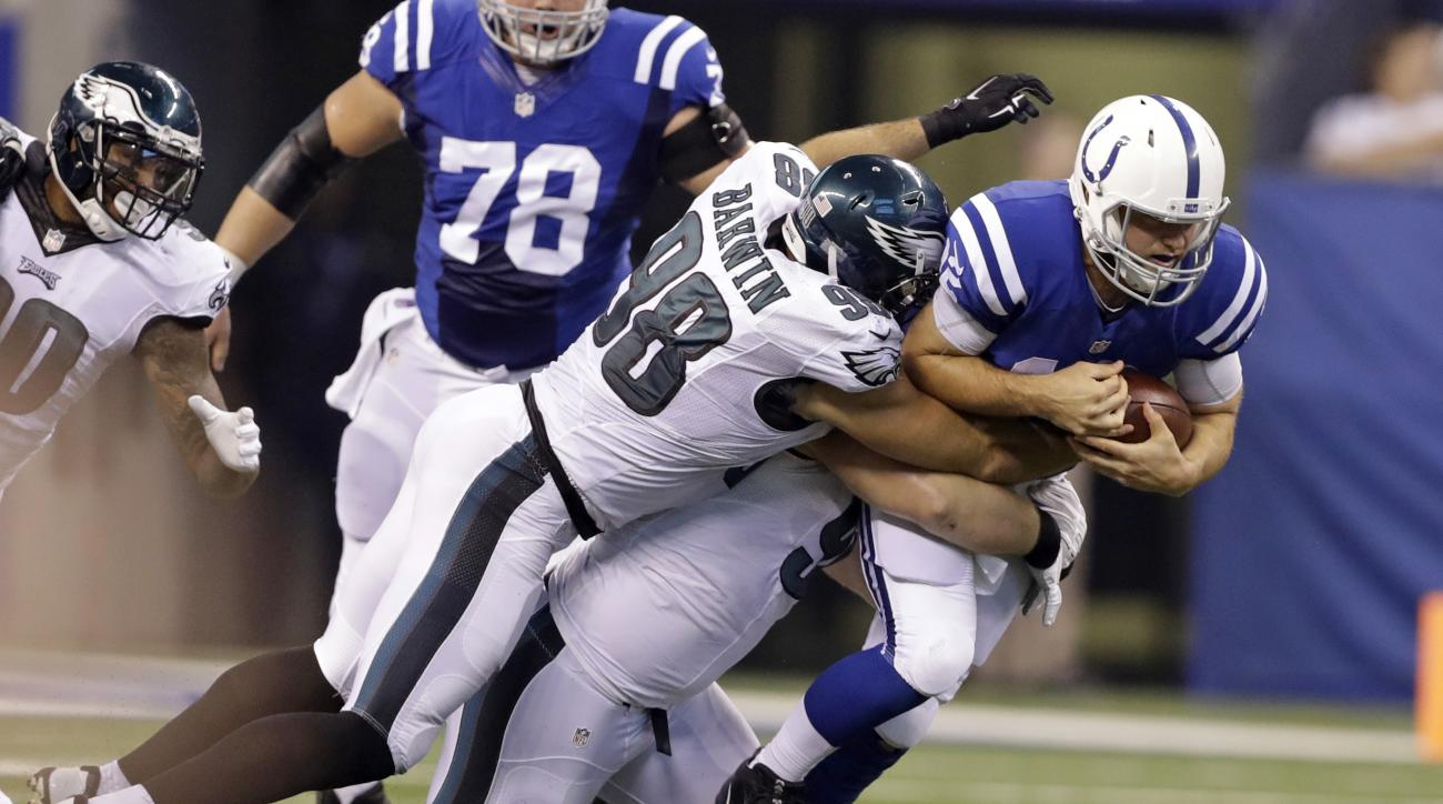 Philadelphia Eagles outside linebacker Connor Barwin (98) sacks Indianapolis Colts quarterback Andrew Luck (12) during the first half of an NFL preseason football game in Indianapolis, Saturday, Aug. 27, 2016. (AP Photo/Darron Cummings)