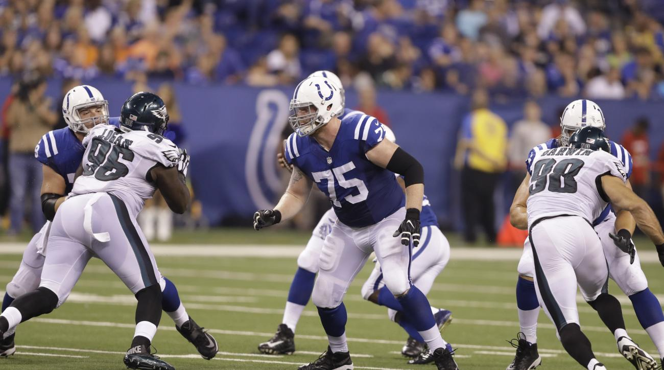 Indianapolis Colts offensive guard Jack Mewhort (75) drops back to block against the Philadelphia Eagles during the first half of an NFL preseason football game in Indianapolis, Saturday, Aug. 27, 2016. (AP Photo/Darron Cummings)