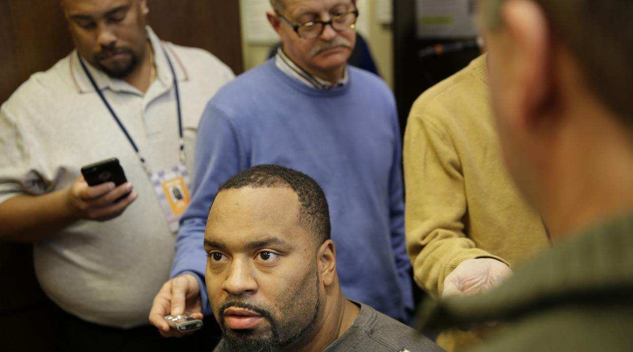 FILE - In this Jan. 4, 2016, file photo, then-New York Giants' Cullen Jenkins talks to reporters in the team locker room in East Rutherford, N.J. Seeking depth on the defensive line, the Washington Redskins signed veteran Cullen Jenkins to a one-year deal