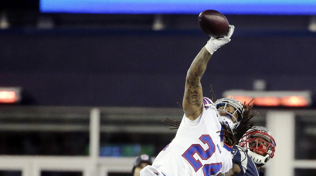 FILE - In this Nov. 23, 2015, file photo, Buffalo Bills defensive back Stephon Gilmore (24) breaks up a pass intended for New England Patriots wide receiver Brandon LaFell (19) in the second half of an NFL football game, in Foxborough, Mass.  Entering the
