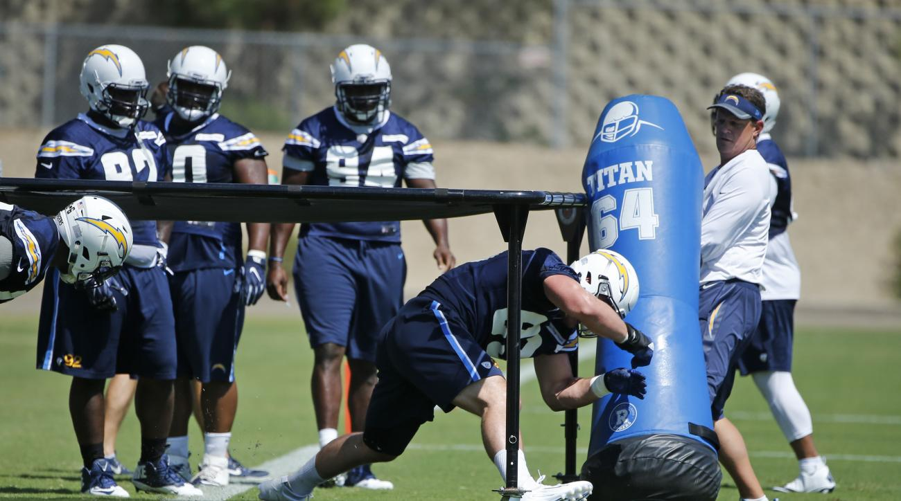 San Diego Chargers' Joey Bosa plows into a blocking dummy while working out at his first practice since agreeing to a four year contract, Tuesday, Aug. 30, 2016, in San Diego. (AP Photo/Lenny Ignelzi)