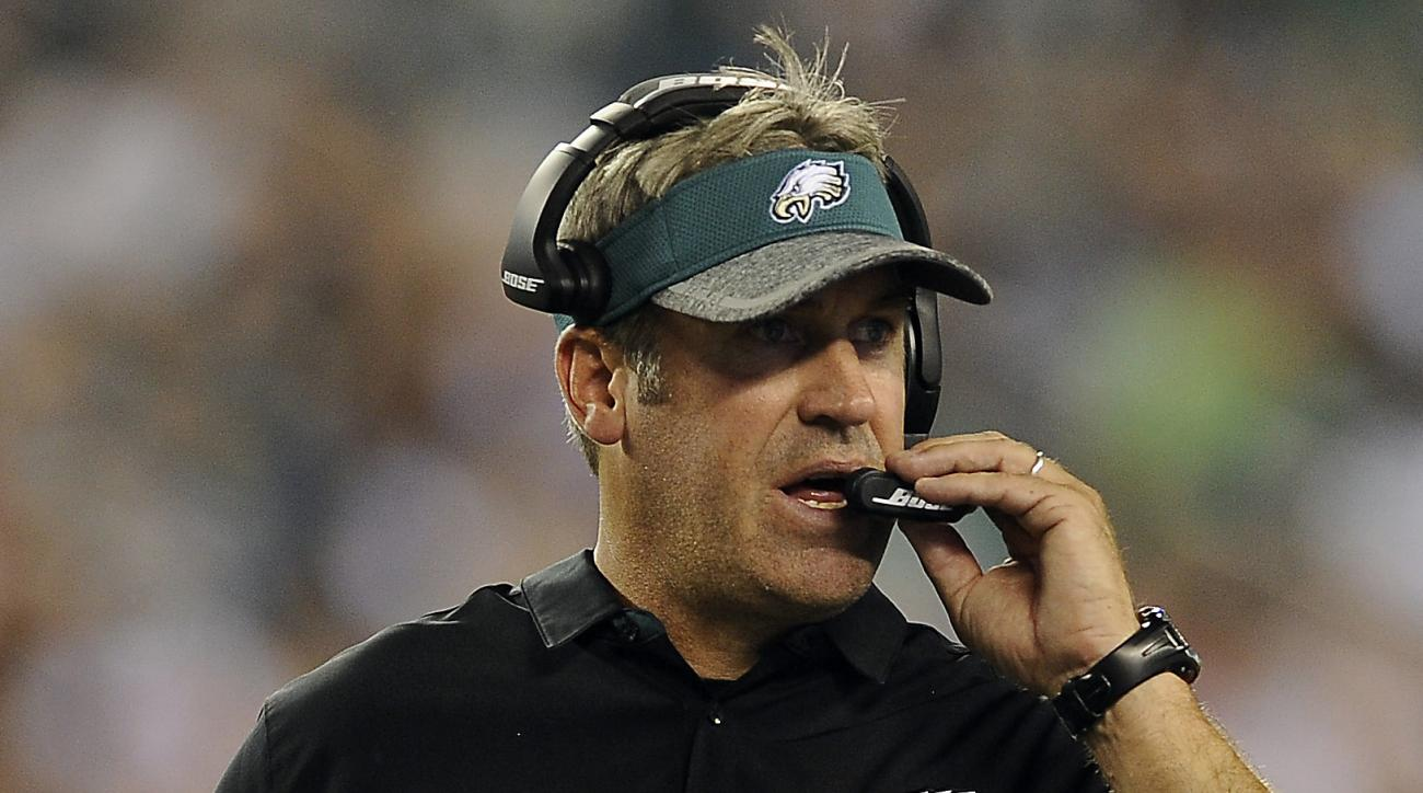 FILE - In this Aug. 11, 2016, file photo, Philadelphia Eagles head coach Doug Pederson watches during an NFL preseason football game against the Tampa Bay Buccaneers in Philadelphia (AP Photo/Michael Perez, File)