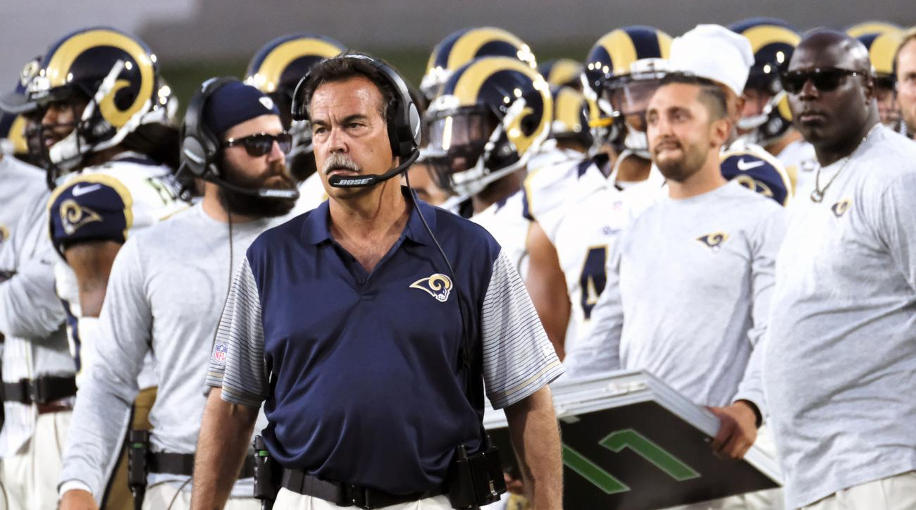 FILE - In this Saturday, Aug. 20, 2016 file photo Los Angeles Rams head coach Jeff Fisher stands on the sidelines during the first half of a preseason NFL football game between the Los Angeles Rams and the Kansas City Chiefs in Los Angeles. Offseason work