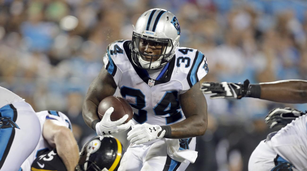 Carolina Panthers' Cameron Artis-Payne (34) runs against the Pittsburgh Steelers in the second half of a preseason NFL football game in Charlotte, N.C., Thursday, Sept. 1, 2016. (AP Photo/Bob Leverone)