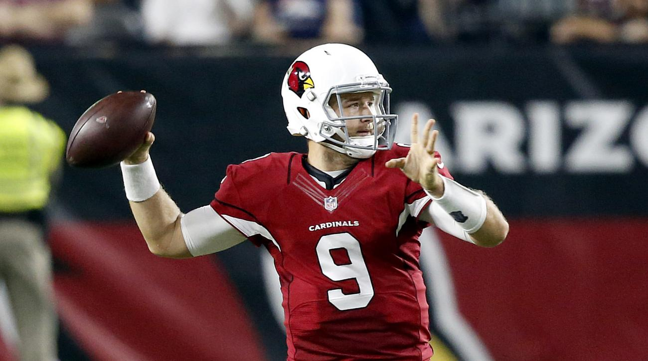 Arizona Cardinals quarterback Matt Barkley (9) throws against the Denver Broncos during the first half of an NFL preseason football game, Thursday, Sept. 1, 2016, in Glendale, Ariz. (AP Photo/Ross D. Franklin)
