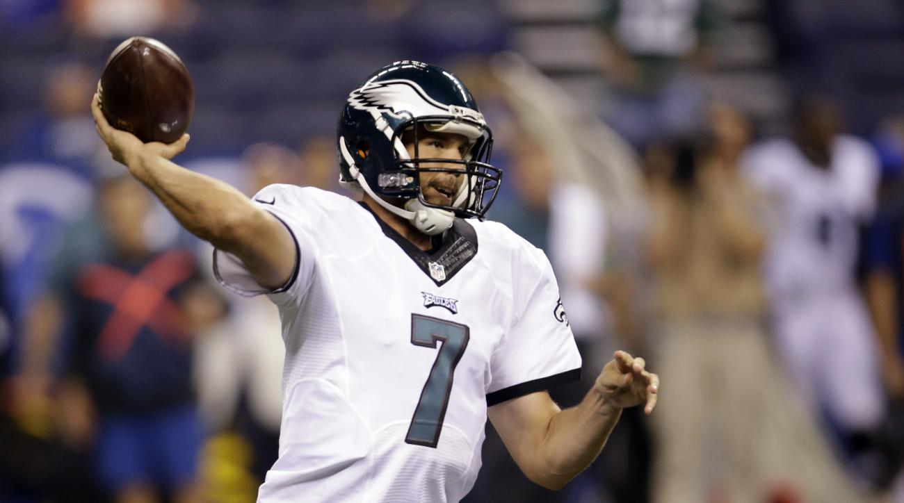 FILE - In this Saturday, Aug. 27, 2016, file photo, Philadelphia Eagles quarterback Sam Bradford (7) throws against the Indianapolis Colts during the second half of an NFL preseason football game in Indianapolis. The Eagles traded Bradford Saturday, Sept.