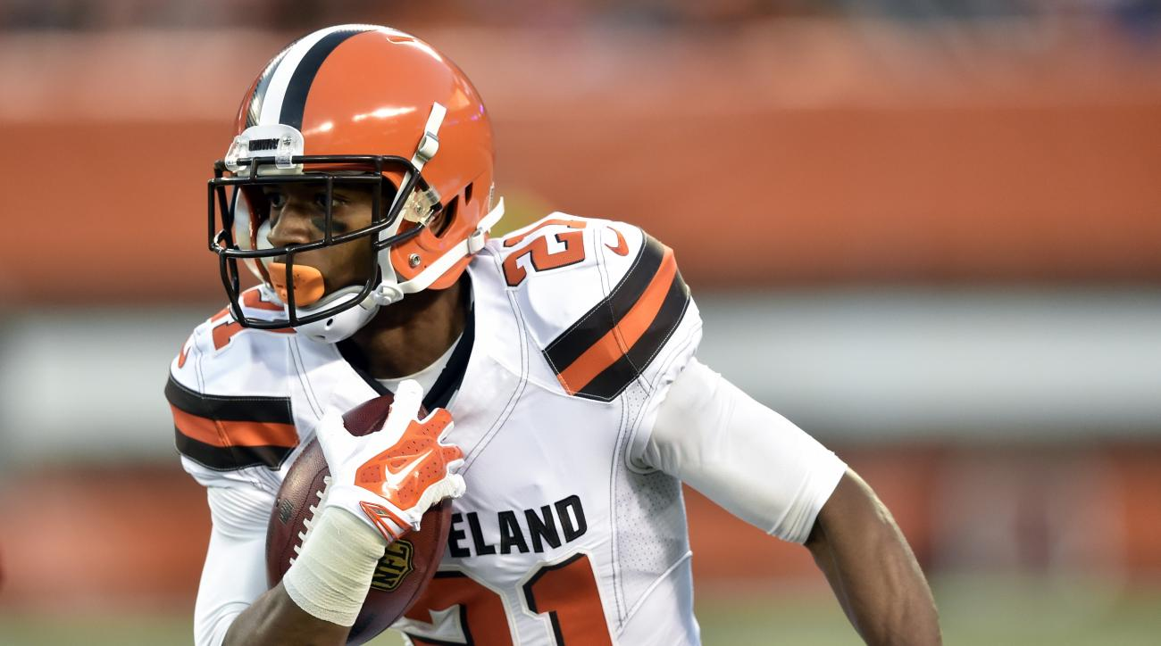 FILE - In this Aug. 18, 2016, file photo, Cleveland Browns' Justin Gilbert returns a kick during the first half of an NFL preseason football game against the Atlanta Falcons in Cleveland. The Pittsburgh Steelers acquired Gilbert from the Browns on Saturda