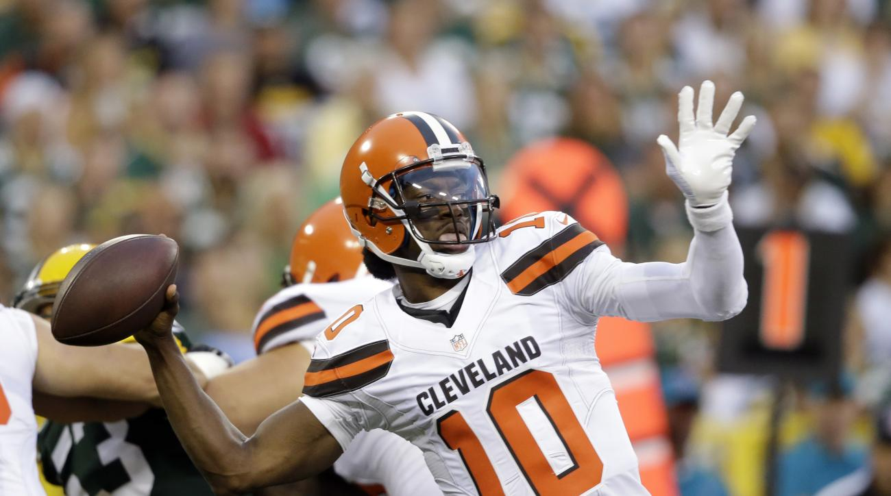 FILE- In this Aug. 12, 2016, file photo, Cleveland Browns quarterback Robert Griffin III (10) throws against the Green Bay Packers in the first half of an NFL preseason football game in Green Bay, Wis. Cleveland's success this season will hinge on whether