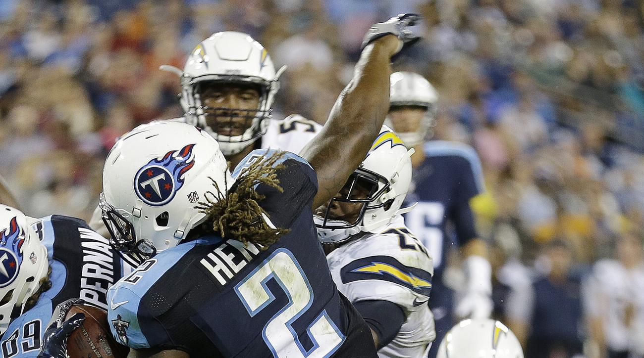 FILE - In this Aug. 13, 2016, file photo, Tennessee Titans running back Derrick Henry (2) runs into there end zone for a touchdown against San Diego Chargers linebacker Ben Gardner (49) during the first half of an NFL preseason football game, in Nashville