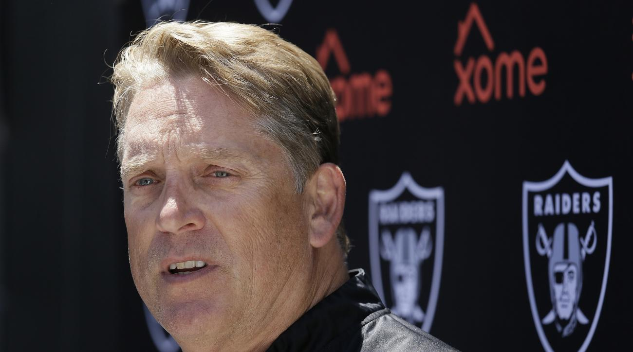 FILE - In this June 14, 2016, file photo, Oakland Raiders head coach Jack Del Rio answers questions during their football minicamp in Alameda, Calif. After 13 straight seasons without winning record or playoff berth, the Raiders enter 2016 with legitimate