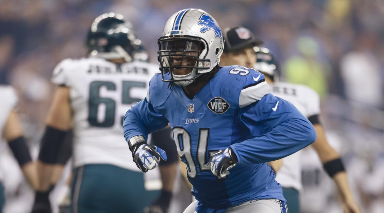 "FILE - In this Nov. 26, 2015, file photo, Detroit Lions defensive end Ezekiel ""ZIggy"" Ansah (94) celebrates after a play during an NFL football game against the Philadelphia Eagles in Detroit. The Lions have potential stars in each position group on defen"
