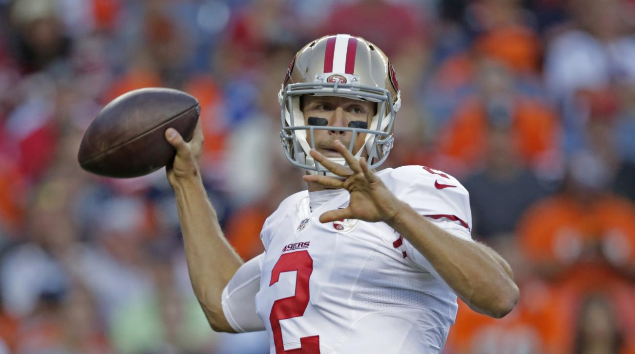 FILE - In this Aug. 20, 2016, file photo, San Francisco 49ers quarterback Blaine Gabbert looks to pass in the first half of a preseason NFL football game against the Denver Broncos in Denver. For Chip Kelly and Blaine Gabbert, this season is about a secon